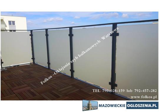 Folia na szklane balustrady balkonowe, folia na balkon Warszawa -oklejanie szyb folią Folkos