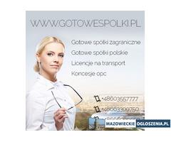 Gotowe Spółki  Akcyjne 603557777 KONCESJA NA HANDEL PALIWAMI OPC, Gotowe Spółki z VAT EU
